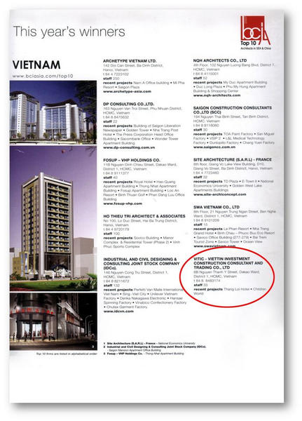 BCI ASIA- top ten in Viet nam